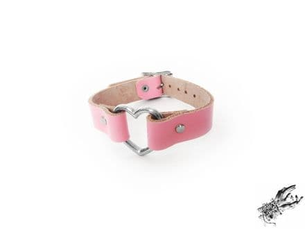 Pink Leather Heart Ring Wristband