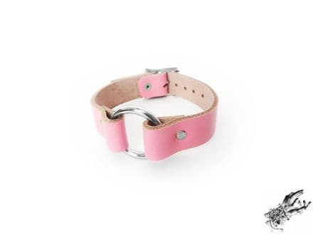 Pink Leather O Ring Wristband