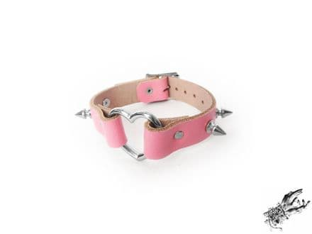 Pink Studded Leather Heart Ring Wristband