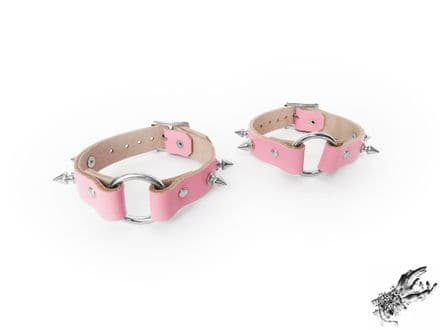 Pink Studded Leather O Ring Ankle Cuffs