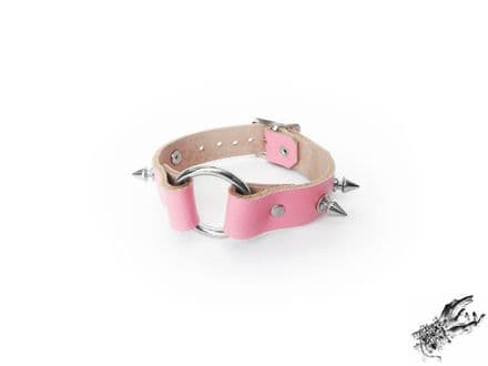 Pink Studded Leather O Ring Wristband