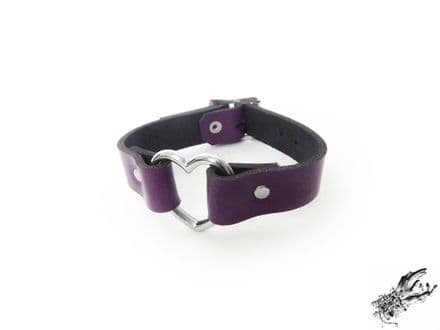 Purple Leather Heart Ring Wristband