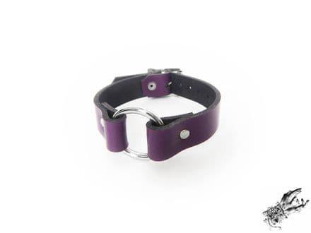 Purple Leather O Ring Wristband