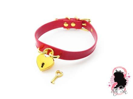 Red and Gold Heart Padlock Choker