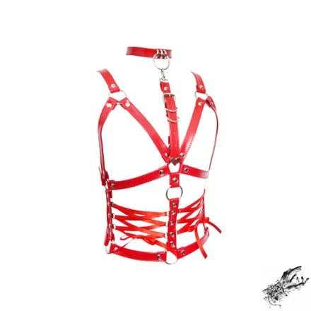 Red Faux Leather Corset Harness