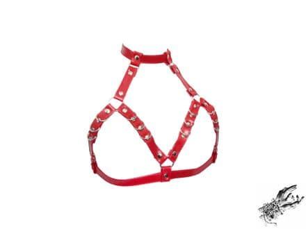 Red Faux Leather D Ring Harness