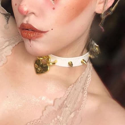White and Gold Studded Heart Padlock Choker