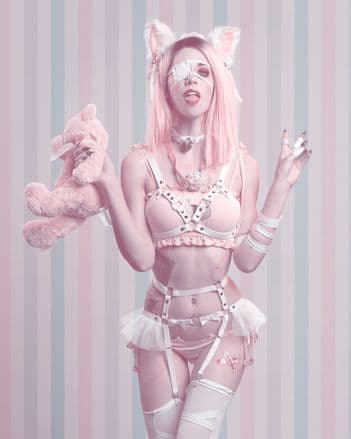 White Faux Leather Cage Harness Set