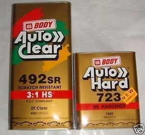 NEW 3 LT HB BODY 492 2K CLEAR LACQUER CAR PAINT FREE 1 LT ACTIVATOR FREE POST