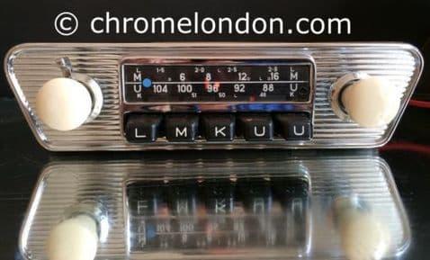 12+/- BLAUPUNKT FRANKFURT Vintage Chrome Classic Car FM Radio +MP3 video MINT PORSCHE 911 912 VWTR6 ASTON MG ETYPE FERRARI DINO