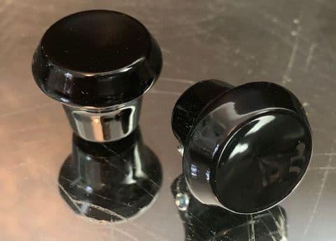 2x BAKELITE RADIO KNOBS BLACK NEW PAIR - PORSCHE 911 912 UNIVERSAL