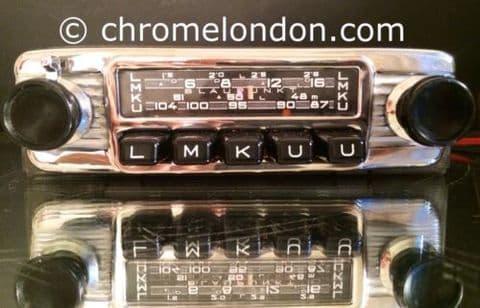 6v12+/- BLAUPUNKT FRANKFURT Vintage Chrome Classic Car FM Radio video PORSCHE 356 ASTON MG JAGUAR