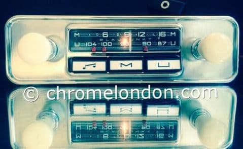 6v12v+/- IVORY BLAUPUNKT MANNHEIM Vintage Classic Car FM Radio +MP3 seeVideo MINT RESTORED MG B ASTON DB6 JAG ETYPE HEALEY AUSTIN MINI TR4 VW