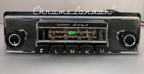 BECKER AVUS Vintage CHROME Classic Car FM Radio +MP3  PORSCHE 911 MERCEDES 230SL W111 FERRARI