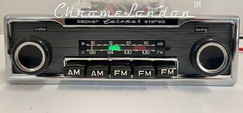 BECKER EUROPA II STEREO US Vintage PINSTRIPE Classic Car 108 FM Radio +MP3 MINT+WARRANTY MERCEDES SL
