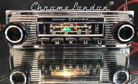 BECKER EUROPA Vintage CHROME Classic Car FM Radio +MP3  FULL WARRANTY  MERCEDES 190SL  W111 W113 JAG
