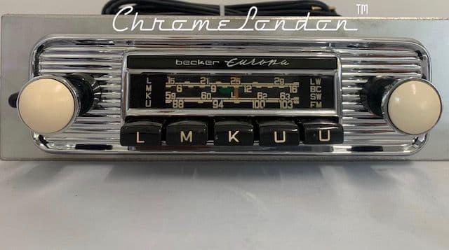 BECKER EUROPA  Vintage IVORY Chrome Classic Car FM Radio +MP3  MINT MERCEDES 190 SL