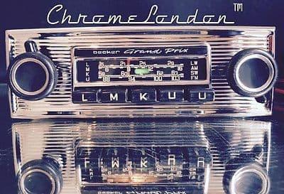 BECKER GRAND PRIX Vintage Chrome Classic Car FM Radio +MP3 seeVideo MINT