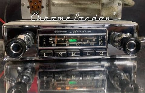 BECKER MEXICO Wonderbar Vintage CHROME Classic Car Radio +AMP WARRANTY MERCEDES 110 111 112  230SL