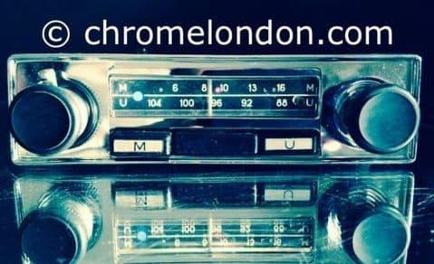 BLAUPUNKT Compact Vintage Chrome Classic Car FM MW Radio +MP3 seeVideo WARRANTY LOTUS ELAN EUROPA MINI MG MIDGET SPRITE KARMANN