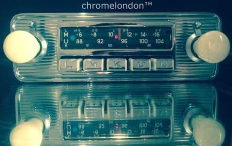 BLAUPUNKT DORTMUND DELUXE Vintage Chrome Classic Car FM Radio +MP3 *MINT* 6 M WARRANTY FERRARI ALFA SPIDER JAGUAR XKE ETYPE ASTON MG B PORSCHE 356 VW