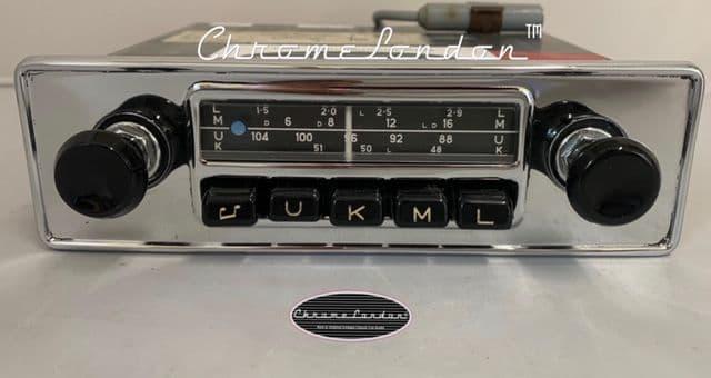 BLAUPUNKT ESSEN 12V+/-Vintage Chrome Classic Car FM Radio +MP3 ASTON DB TR6 JAG ETYPE MG (1)