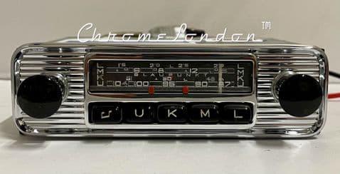 BLAUPUNKT ESSEN  6V/12V +/- Vintage Chrome Classic Car FM Radio  HEALEY MG JAGUAR PORSCHE 356 (1)