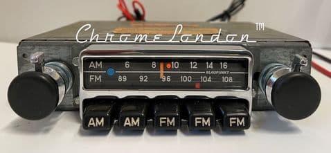 BLAUPUNKT FRANKFURT US Small Chrome Vintage Classic Car FM Radio +MP3  PORSCHE 356 912 911 ALFA BMW