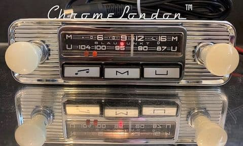 BLAUPUNKT MANNHEIM 12v+/- Vintage 2 Piece Chrome Ivory Classic Car FM Radio For MG VW ALFA  JAGUAR