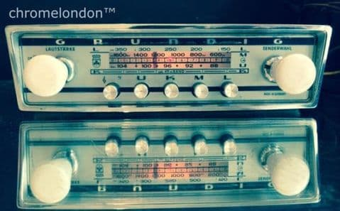 GRUNDIG AUTOSUPER 6v/12v/- Vintage Chrome Classic Car FM Radio MP3  MG ETYPE HEALEY VW ALFA