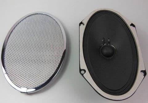 OVAL LOUDSPEAKER AND CHROME GRILL NEW - PORSCHE 356 ASTON MARTIN DB4 MERCEDES 319 PONTON