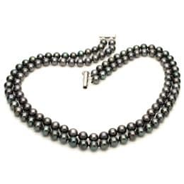 Black Pearl Choker - Double Strand - AA 6mm Round Pearls - Sterling Silver Clasp