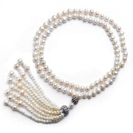 Pearl Necklace Matinee Length with Tassel - A+7mm Off Round Pearls - 28''