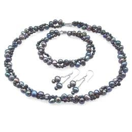 Pearl Set, Necklace, Bracelet & Earrings -  Double Row Baroque - Sterling Silver - Grey, Red & Black