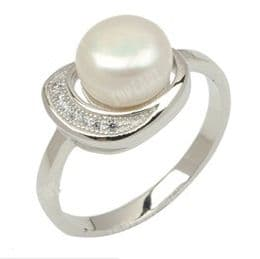Sterling Silver Pearl Ring with 8mm Button Pearl, with tiny clear Cubic Zirconia inlay. Available in White & Black