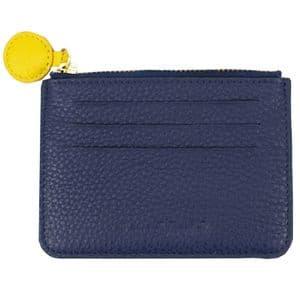 V01380 - Leather Navy & Yellow Card Holder 4/PK