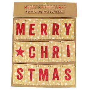 V11785 - Merry Christmas Hanging Paper Bunting Red and Gold - PB2XMAS 12/PK