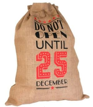 V19866 - Santa Sack Do Not Open Jute - SSOPEN 4/PK