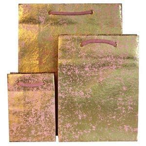 V22132; V22149; V22156 - Gold Crush on Light Pink Gift Bag GBG171.10/51 10/PK
