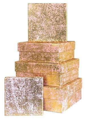 V23115 - Gold Crush on Light Pink Square Nest of 5 Boxes - GBXS171.10/51 1/PK