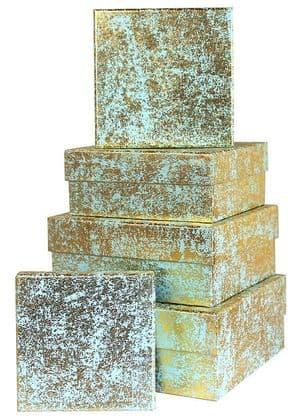 V23641 - Gold Crush on Mint Square Nest of 5 Boxes Crush - GBXS171.43/51 1/PK