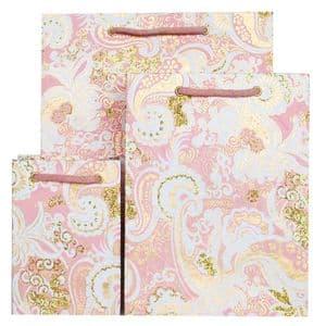 V30533; V30502; V30472 - Nehru Paisley Pink Gift Bags - GBG115.70/10 10/PK