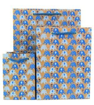 V31004; V30984; V30960 - Mini Ellies Blue Gift Bags - GBG230.100/48 10/PK