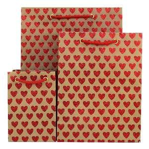 V33275; V33244; V33213 - Mini Hearts Glitter Red Bag - GBG163.100/20G 10/PK