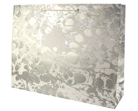 V33503 - Glitter Marble Silver/White XL Bag - GBG215XL.100/01GS 5/PK
