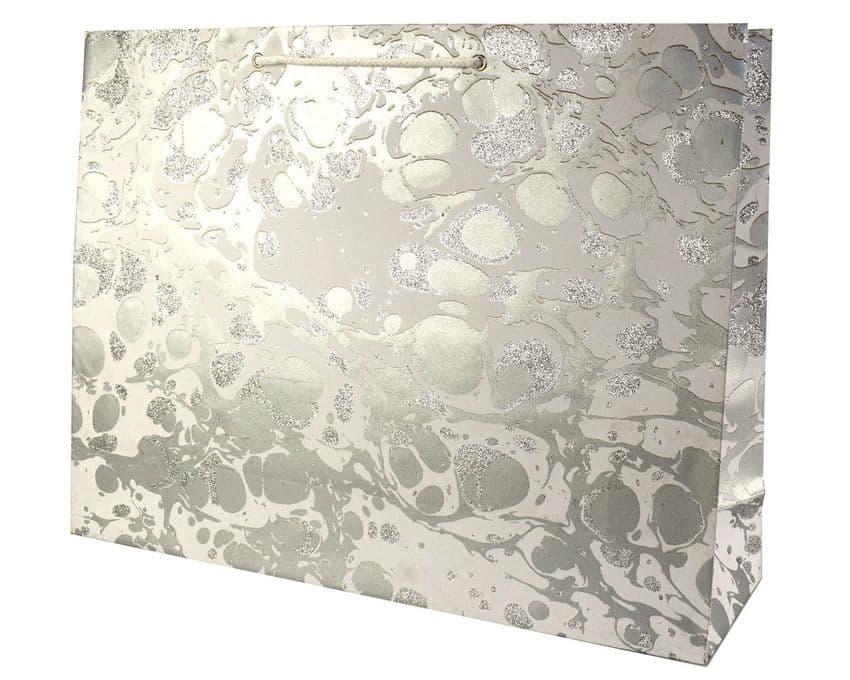 V33503 - Glitter Marble Silver/White XL Bag - GBG215XL.100/01GS 5/PK
