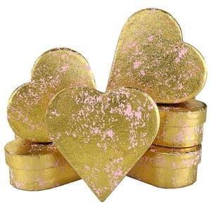V33954 - Gold Crush on Pink Heart Mini Boxes - GBXH171.10/51 12/PK