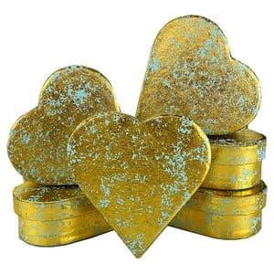 V33978 - Gold Crush on Mint Heart Mini Boxes - GBXH171.43/51 12/PK