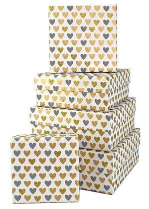 V34074 - Mini Hearts Grey Square Nest of 5 Boxes - GBXS163.00/80 1/PK
