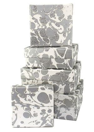 V34104 - Glitter Marble Silver Square Nest of 5 Boxes - GBXS215.100/01GS 1/PK